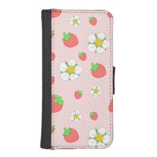 ピンクの非常に果実のいちご iPhoneSE/5/5sウォレットケース