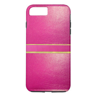 ピンクの革およびスエードの金ゴールドはiPhoneの場合を並べます iPhone 8 Plus/7 Plusケース