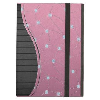 ピンクの革でステッチされる青いダイヤモンド iPad AIRケース
