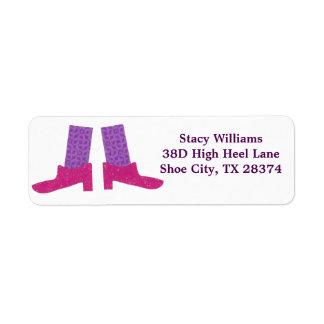 ピンクの靴のラベル 返信用宛名ラベル