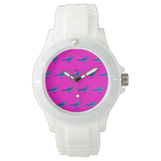 ピンクの顔、ヴィンテージの鳥を搭載する白いスポーツの腕時計 腕時計