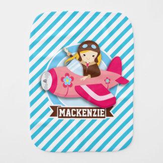 ピンクの飛行機の女の子のパイロット; 青及び白のストライプ バープクロス