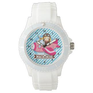 ピンクの飛行機の女の子のパイロット; 青及び白のストライプ 腕時計