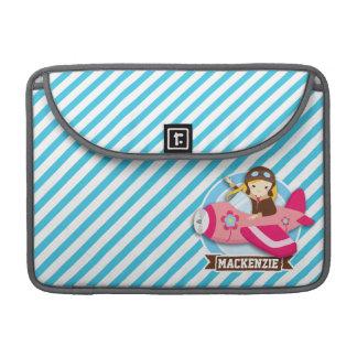 ピンクの飛行機の女の子のパイロット; 青及び白のストライプ MacBook PROスリーブ