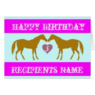 ピンクの馬の年齢のバースデー・カード-馬の年齢カード5 カード