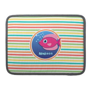 ピンクの魚; 明るい虹は縞で飾ります MacBook PROスリーブ