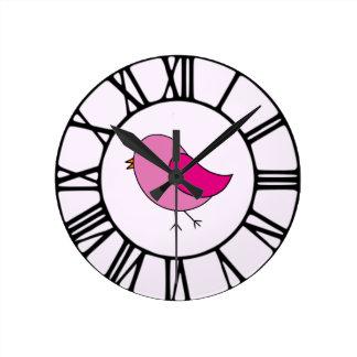 ピンクの鳥 ラウンド壁時計