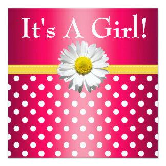 ピンクの黄色いデイジーのベビーシャワーの招待状 カード