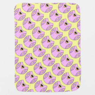 ピンクの黄色いフクロウの女の子 ベビー ブランケット
