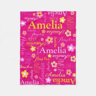 ピンクの黄色い女の子の一流のアメリアの花毛布 フリースブランケット