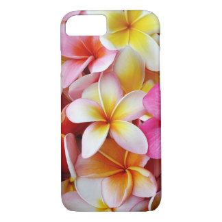 ピンクの黄色く白い混合されたプルメリアの花 iPhone 8/7ケース