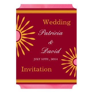 ピンクの黄色く赤くモダンな花の結婚式招待状 12.7 X 17.8 インビテーションカード