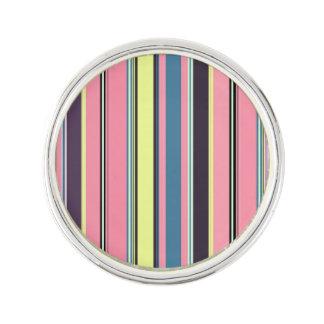ピンクの黄色く青い紫色の縦ストライプパターン ラペルピン