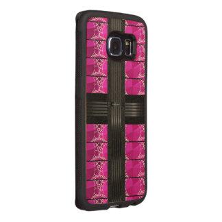 ピンクの黒いきらきら光る ウッドケース