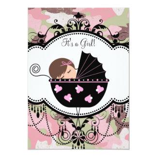 ピンクの黒いカムフラージュの女の赤ちゃんのシャワーの招待状 カード