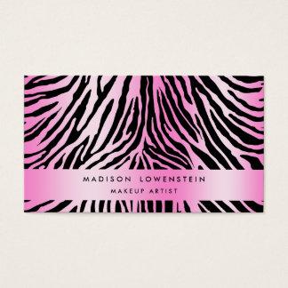 ピンクの黒いシマウマパターン 名刺