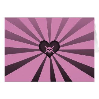 ピンクの黒いスカル カード