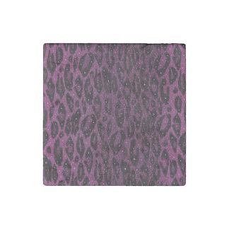 ピンクの黒いチータの星 ストーンマグネット