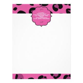 ピンクの黒いヒョウのチータレターヘッド文房具 レターヘッド