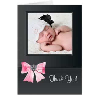 ピンクの黒いベビーの写真のサンキューカード ノートカード
