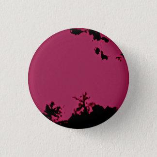 ピンクの黒いボタンピン 3.2CM 丸型バッジ
