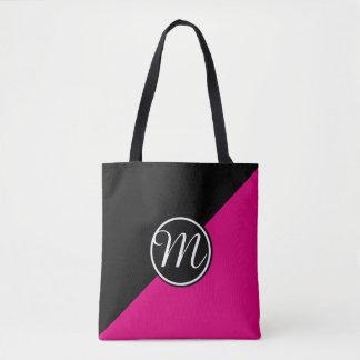 ピンクの黒いモノグラム トートバッグ