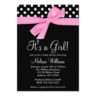 ピンクの黒い弓水玉模様のベビーシャワー招待状 カード