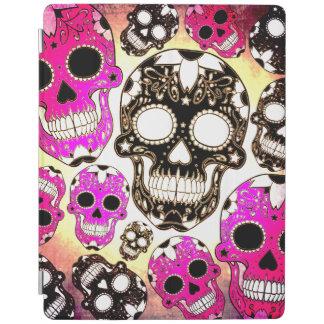 ピンクの黒い砂糖のスカルのグランジなipad 2/3/4の場合 iPadスマートカバー