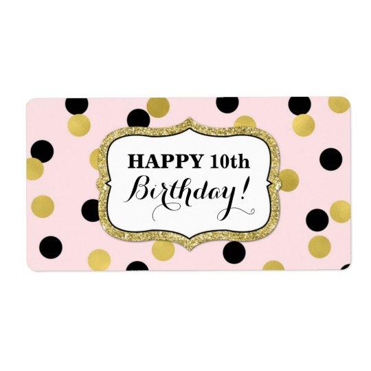 ピンクの黒い金ゴールドの紙吹雪の誕生日のラベル ラベル