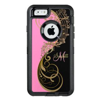 ピンクの黒い金ゴールド音楽はOtterboxのiPhoneの場合に注意します オッターボックスディフェンダーiPhoneケース