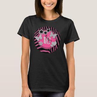 ピンクの黒い銀製のシマウマのグリッターの菓子16のTシャツ Tシャツ