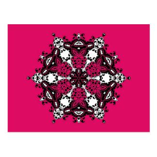 ピンクの黒く及び白く華美なデザイン ポストカード
