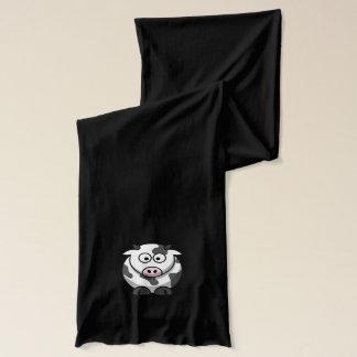 ピンクの鼻を持つかわいくおもしろいな円形の漫画牛 スカーフ