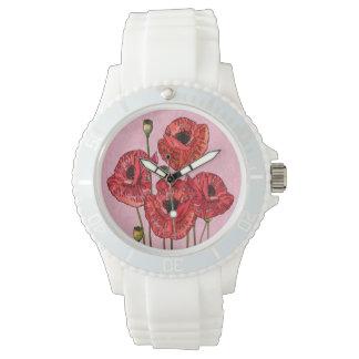 ピンクの4匹のかわいらしく赤いケシ 腕時計