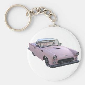 ピンクの50年代のスポーツ・カー キーホルダー