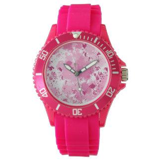 ピンクの(ばちゃばちゃ)跳ねるの腕時計 腕時計