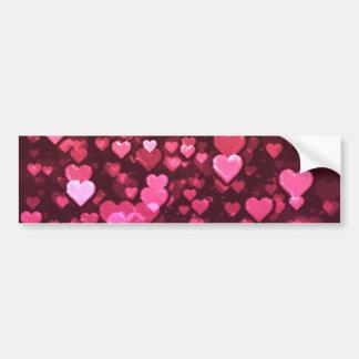 ピンクの《写真》ぼけ味のハートのデジタル背景の壁紙 バンパーステッカー