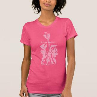 """ピンクの""""救助""""の押されたワイシャツ Tシャツ"""