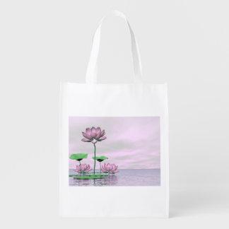 ピンクの《植物》スイレンおよびはすの花- 3Dは描写します エコバッグ