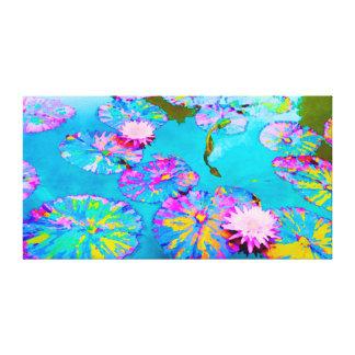 ピンクの《植物》スイレンの雑色のLilypads キャンバスプリント