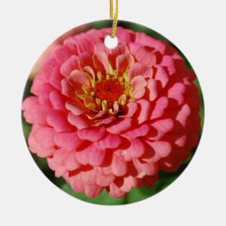 ピンクの《植物》百日草のオーナメント 陶器製丸型オーナメント