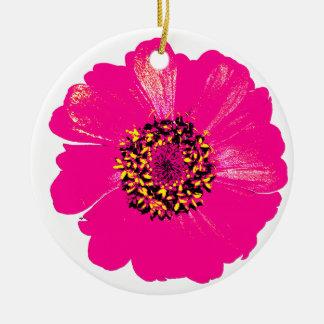 ピンクの《植物》百日草の花 セラミックオーナメント