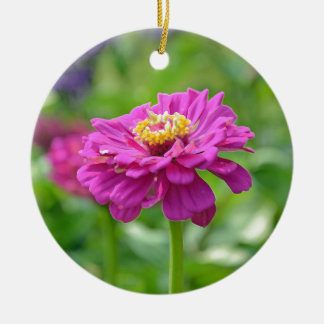 ピンクの《植物》百日草の花 陶器製丸型オーナメント