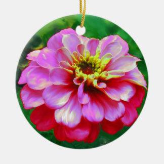 ピンクの《植物》百日草 陶器製丸型オーナメント