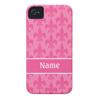 ピンクの(紋章の)フラ・ダ・リのガーリーなiphone 4ケース Case-Mate iPhone 4 ケース