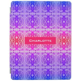 ピンクの、紫色および青のフラクタルのモノグラム iPadスマートカバー