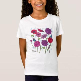 ピンクの、紫色及び赤いtのデイジー、ダリア及び蝶 tシャツ