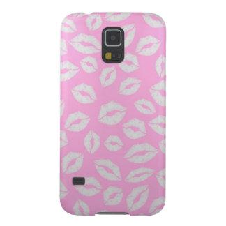 ピンクのbackgraundの美しいキスの唇愛 galaxy s5 ケース