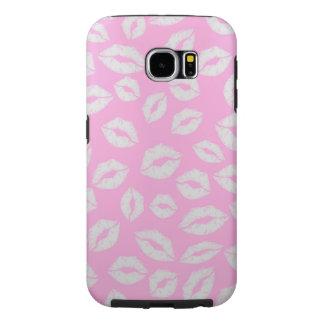 ピンクのbackgraundの美しいキスの唇愛 samsung galaxy s6 ケース