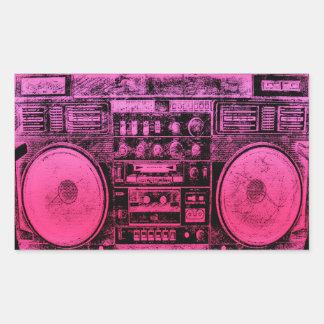 ピンクのboombox 長方形シール